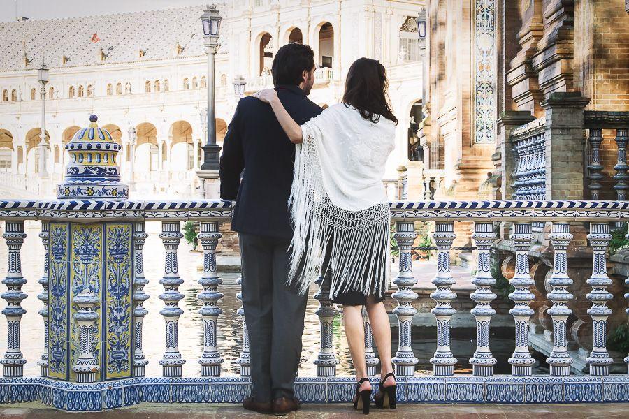 Pedida de mano en Sevilla Plaza de España